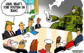 War room briefing with Bolton in a tank