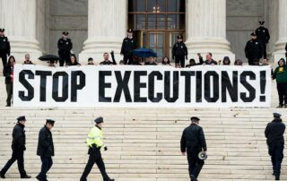 protesters gather to protest executions